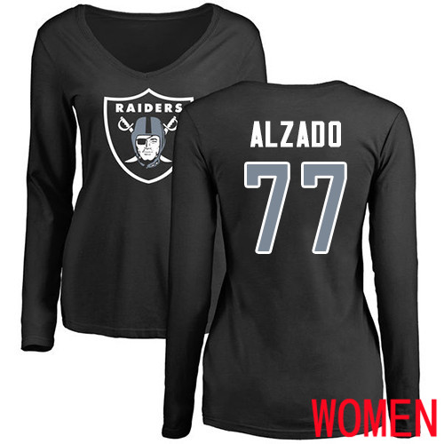 Oakland Raiders Olive Women Lyle Alzado Name and Number Logo NFL Football 77 Long Sleeve T Shirt