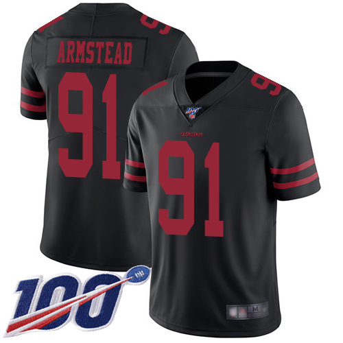 San Francisco 49ers Limited Black Men Arik Armstead Alternate NFL Jersey 91 100th Season Vapor Untouchable