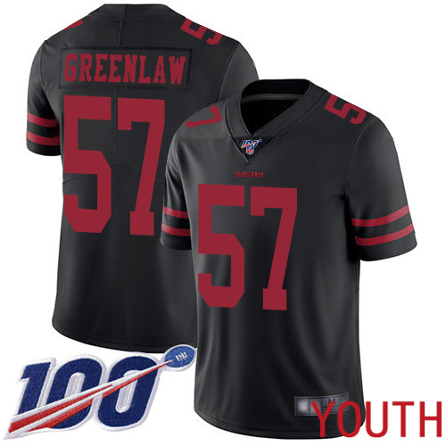 San Francisco 49ers Limited Black Youth Dre Greenlaw Alternate NFL Jersey 57 100th Season Vapor Untouchable