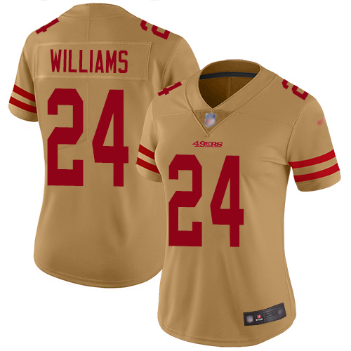 San Francisco 49ers Limited Gold Women K Waun Williams NFL Jersey 24 Inverted Legend