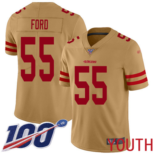 San Francisco 49ers Limited Gold Youth Dee Ford NFL Jersey 55 100th Season Vapor Untouchable Inverted Legend