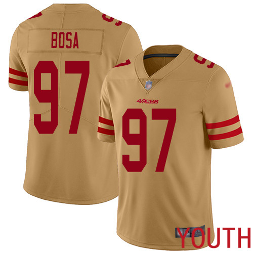 San Francisco 49ers Limited Gold Youth Nick Bosa NFL Jersey 97 Inverted Legend
