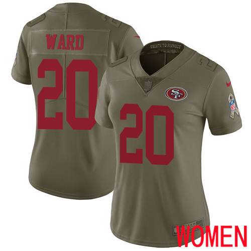 San Francisco 49ers Limited Olive Women Jimmie Ward NFL Jersey 20 2017 Salute to Service