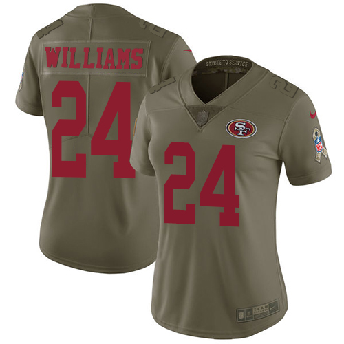 San Francisco 49ers Limited Olive Women K Waun Williams NFL Jersey 24 2017 Salute to