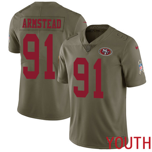 San Francisco 49ers Limited Olive Youth Arik Armstead NFL Jersey 91 2017 Salute to Service