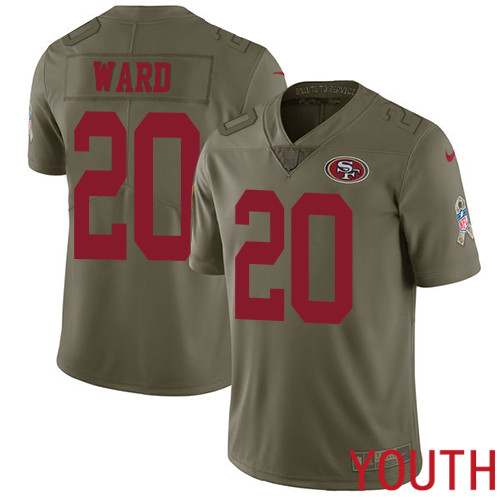 San Francisco 49ers Limited Olive Youth Jimmie Ward NFL Jersey 20 2017 Salute to Service