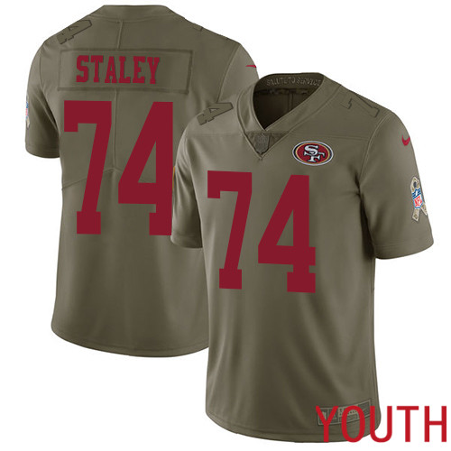 San Francisco 49ers Limited Olive Youth Joe Staley NFL Jersey 74 2017 Salute to Service