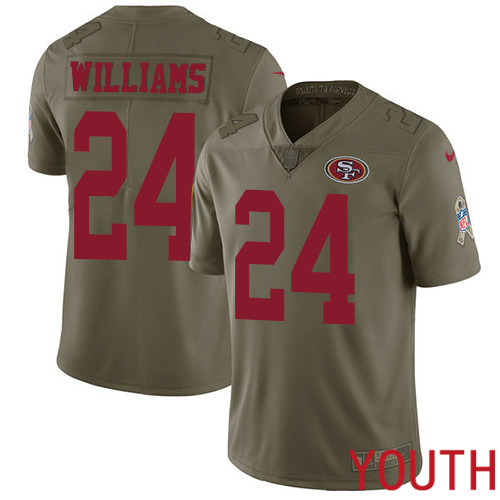 San Francisco 49ers Limited Olive Youth K Waun Williams NFL Jersey 24 2017 Salute to Service