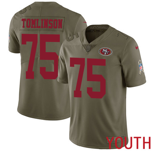 San Francisco 49ers Limited Olive Youth Laken Tomlinson NFL Jersey 75 2017 Salute to Service
