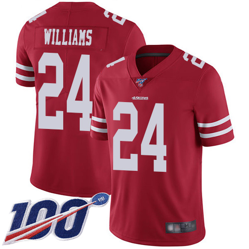 San Francisco 49ers Limited Red Men K Waun Williams Home NFL Jersey 24 100th Season Vapor Untouchable