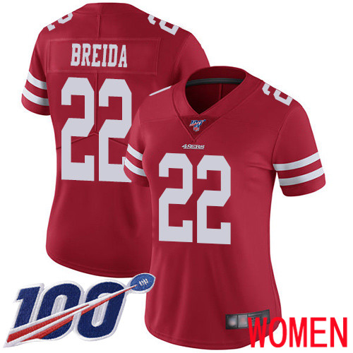San Francisco 49ers Limited Red Women Matt Breida Home NFL Jersey 22 100th Season Vapor Untouchable
