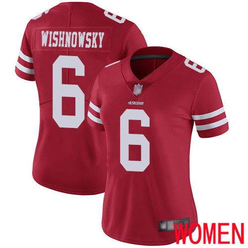 San Francisco 49ers Limited Red Women Mitch Wishnowsky Home NFL Jersey 6 Vapor Untouchable