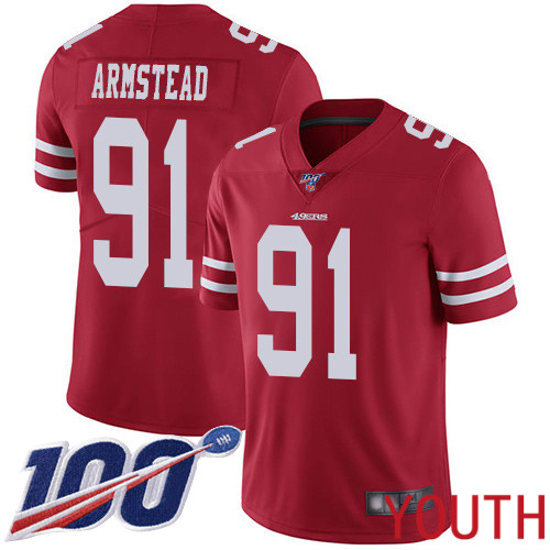 San Francisco 49ers Limited Red Youth Arik Armstead Home NFL Jersey 91 100th Season Vapor Untouchable