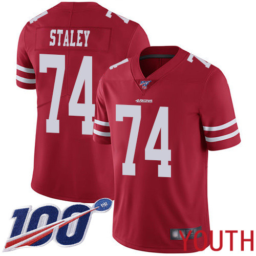 San Francisco 49ers Limited Red Youth Joe Staley Home NFL Jersey 74 100th Season Vapor Untouchable
