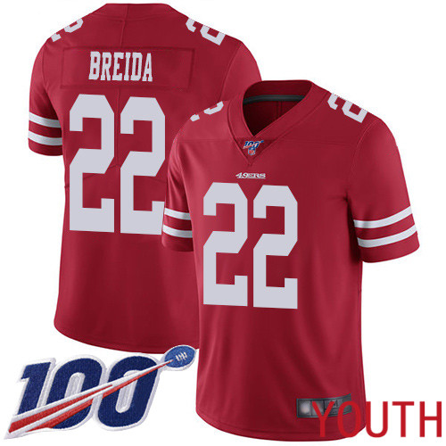 San Francisco 49ers Limited Red Youth Matt Breida Home NFL Jersey 22 100th Season Vapor Untouchable