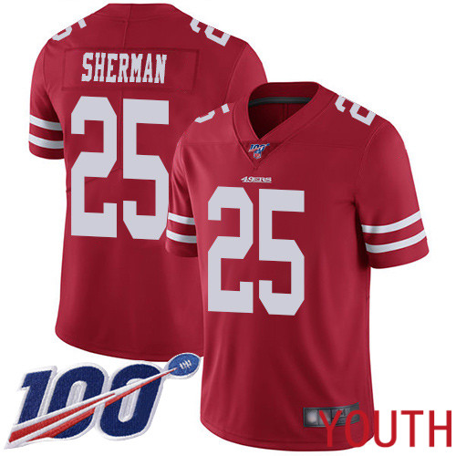 San Francisco 49ers Limited Red Youth Richard Sherman Home NFL Jersey 25 100th Season Vapor Untouchable