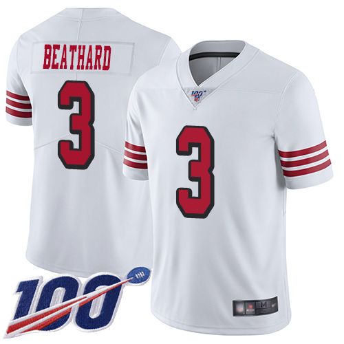 San Francisco 49ers Limited White Men C. J. Beathard NFL Jersey 3 100th Season Rush Vapor Untouchable