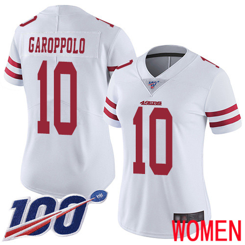 San Francisco 49ers Limited White Women 10 Jimmy Garoppolo Road NFL Jersey 100th Vapor Untouchable