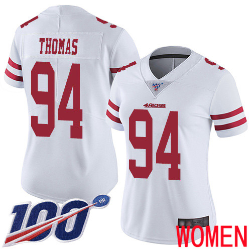 San Francisco 49ers Limited White Women Solomon Thomas Road NFL Jersey 94 100th