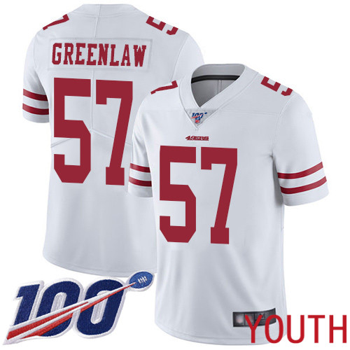 San Francisco 49ers Limited White Youth Dre Greenlaw Road NFL Jersey 57 100th Season Vapor Untouchable