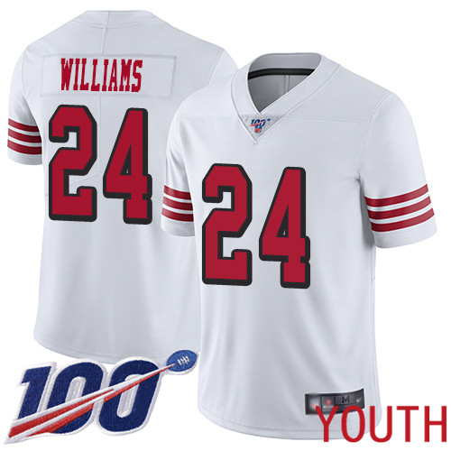 San Francisco 49ers Limited White Youth K Waun Williams NFL Jersey 24 100th Season Vapor Untouchable Rush