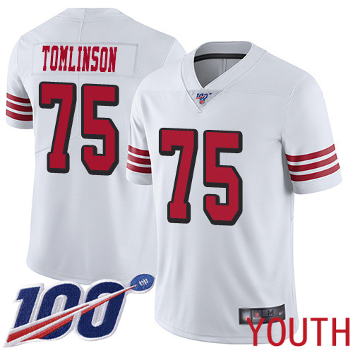 San Francisco 49ers Limited White Youth Laken Tomlinson NFL Jersey 75 100th Season Vapor Untouchable Rush