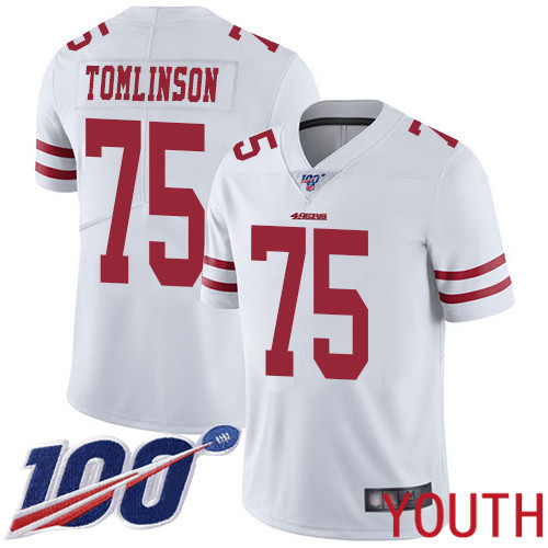 San Francisco 49ers Limited White Youth Laken Tomlinson Road NFL Jersey 75 100th Season Vapor Untouchable