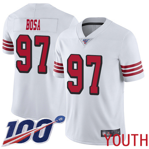 San Francisco 49ers Limited White Youth Nick Bosa NFL Jersey 97 100th Season Rush Vapor Untouchable