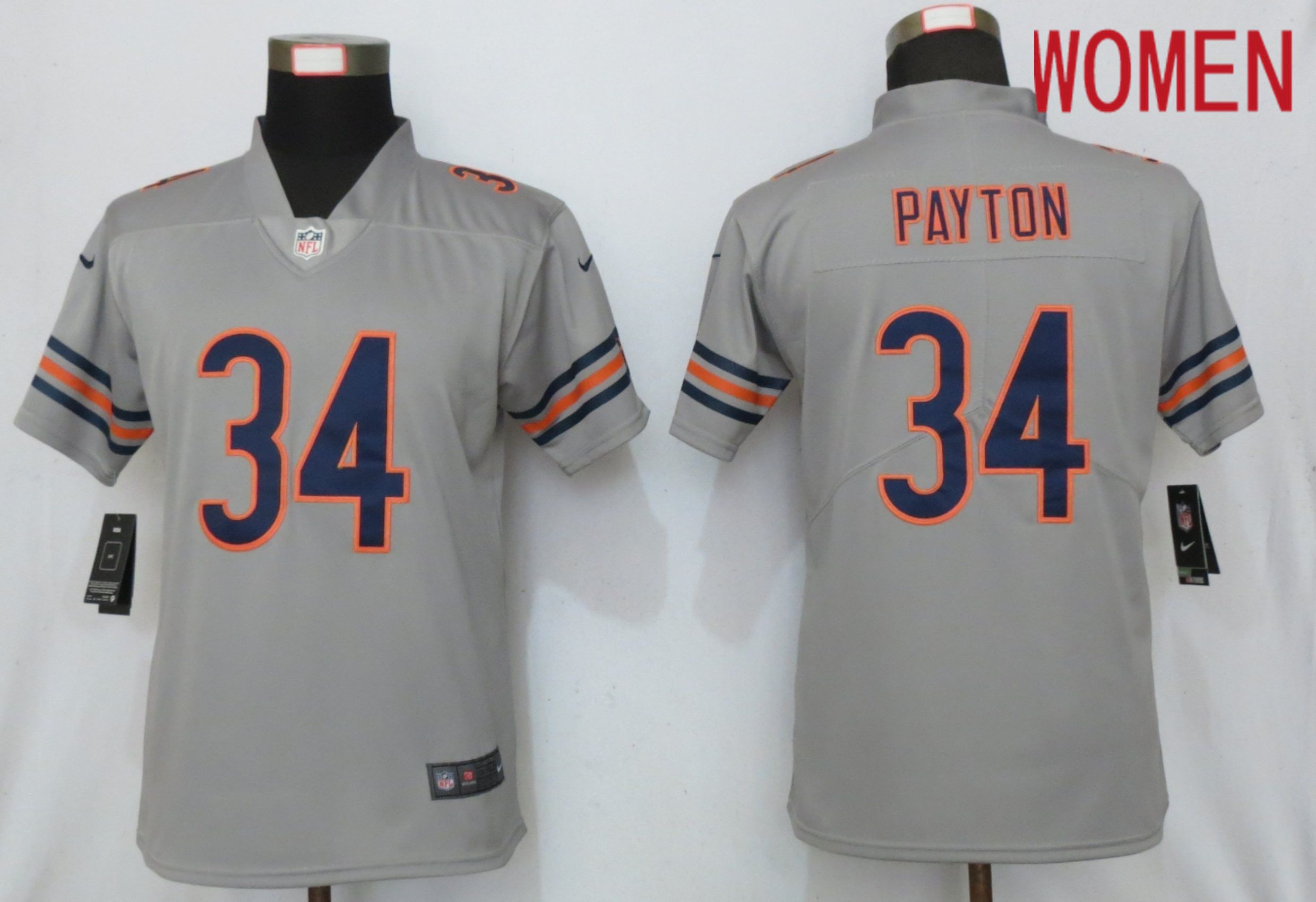 Women Chicago Bears 34 Payton Grey 2019 Vapor Untouchable Nike Silver Inverted Elite Playe NFL Jerseys