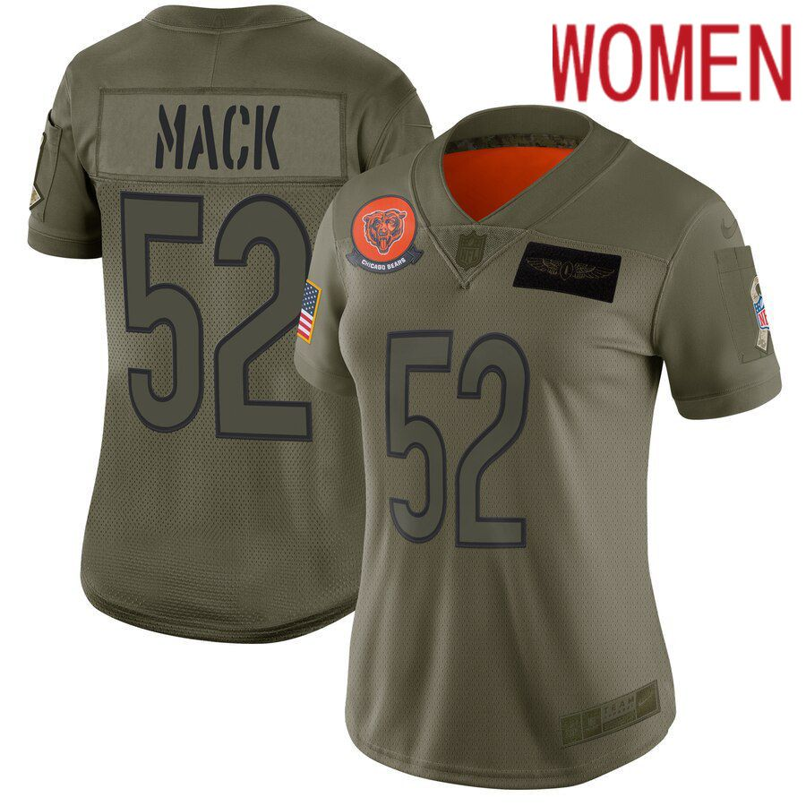 Women Chicago Bears 52 Mack Green Nike Olive Salute To Service Limited NFL Jerseys