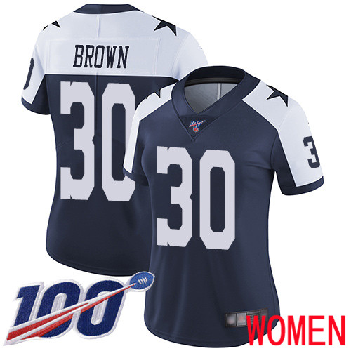 Women Dallas Cowboys Limited Navy Blue Anthony Brown Alternate 30 100th Season Vapor Untouchable Throwback NFL Jersey