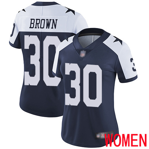 Women Dallas Cowboys Limited Navy Blue Anthony Brown Alternate 30 Vapor Untouchable Throwback NFL Jersey
