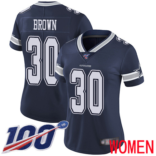 Women Dallas Cowboys Limited Navy Blue Anthony Brown Home 30 100th Season Vapor Untouchable NFL Jersey