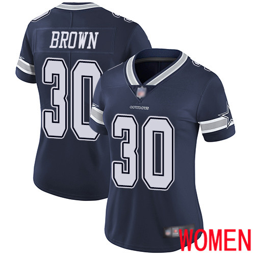 Women Dallas Cowboys Limited Navy Blue Anthony Brown Home 30 Vapor Untouchable NFL Jersey