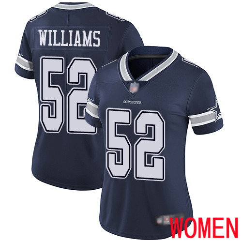 Women Dallas Cowboys Limited Navy Blue Connor Williams Home 52 Vapor Untouchable NFL Jersey