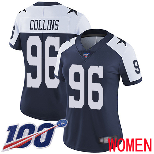 Women Dallas Cowboys Limited Navy Blue Maliek Collins Alternate 96 100th Season Vapor Untouchable Throwback NFL Jersey