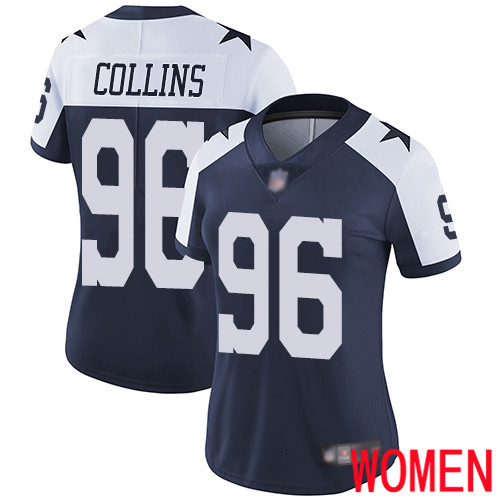 Women Dallas Cowboys Limited Navy Blue Maliek Collins Alternate 96 Vapor Untouchable Throwback NFL Jersey