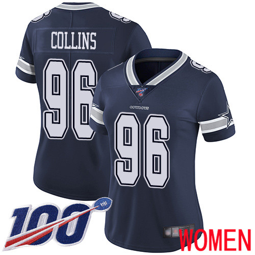 Women Dallas Cowboys Limited Navy Blue Maliek Collins Home 96 100th Season Vapor Untouchable NFL Jersey