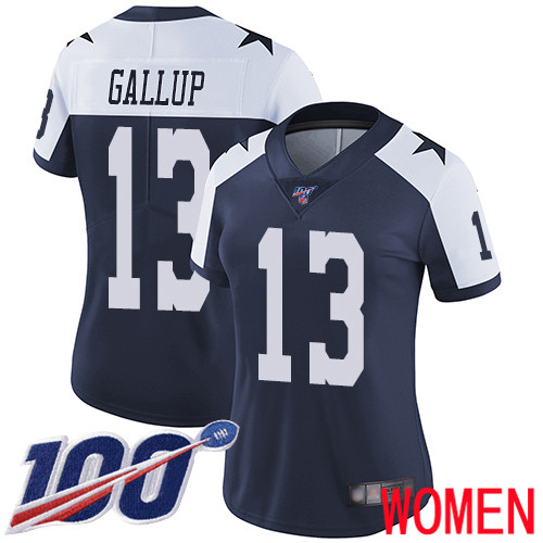 Women Dallas Cowboys Limited Navy Blue Michael Gallup Alternate 13 100th Season Vapor Untouchable Throwback NFL Jersey