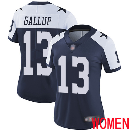 Women Dallas Cowboys Limited Navy Blue Michael Gallup Alternate 13 Vapor Untouchable Throwback NFL Jersey