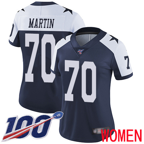 Wholesale Women Dallas Cowboys Limited Navy Blue Zack Martin Alternate 70 100th Season Vapor Untouchable Throwback NFL Jersey