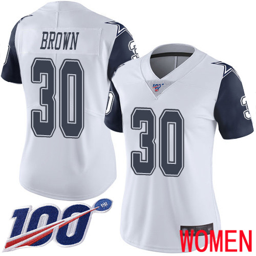 Women Dallas Cowboys Limited White Anthony Brown 30 100th Season Rush Vapor Untouchable NFL Jersey