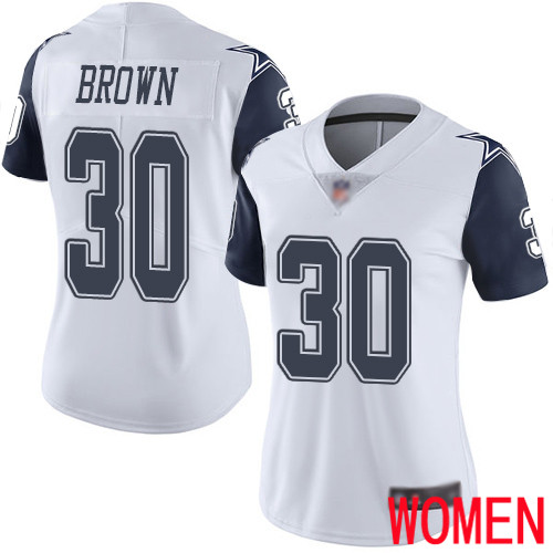 Women Dallas Cowboys Limited White Anthony Brown 30 Rush Vapor Untouchable NFL Jersey
