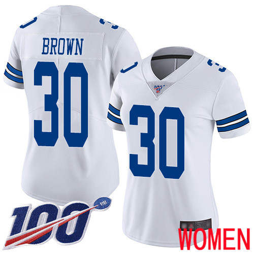 Women Dallas Cowboys Limited White Anthony Brown Road 30 100th Season Vapor Untouchable NFL Jersey