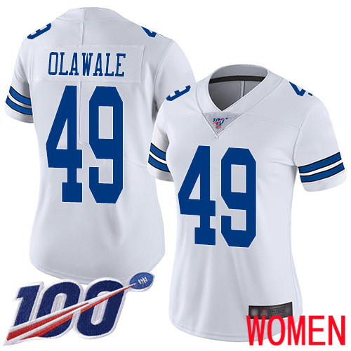 Women Dallas Cowboys Limited White Jamize Olawale Road 49 100th Season Vapor Untouchable NFL Jersey
