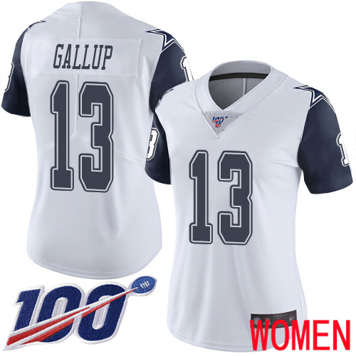 Women Dallas Cowboys Limited White Michael Gallup 13 100th Season Rush Vapor Untouchable NFL Jersey