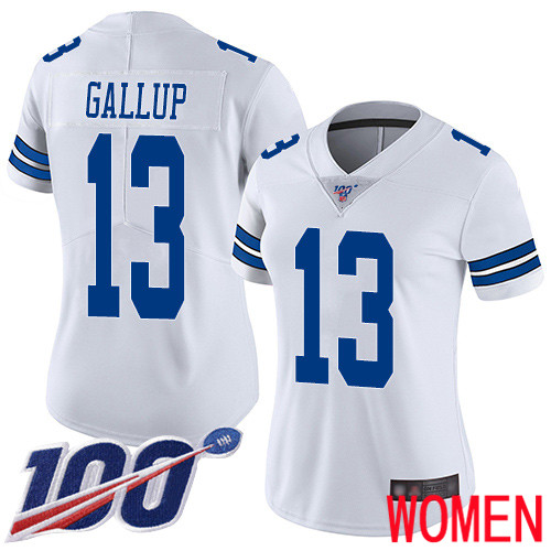 Women Dallas Cowboys Limited White Michael Gallup Road 13 100th Season Vapor Untouchable NFL Jersey