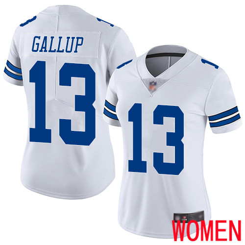 Women Dallas Cowboys Limited White Michael Gallup Road 13 Vapor Untouchable NFL Jersey