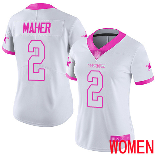 Women Dallas Cowboys Limited White Pink Brett Maher 2 Rush Fashion NFL Jersey