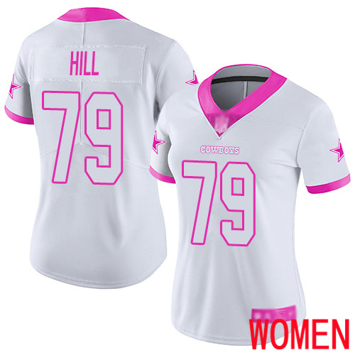 Women Dallas Cowboys Limited White Pink Trysten Hill 79 Rush Fashion NFL Jersey